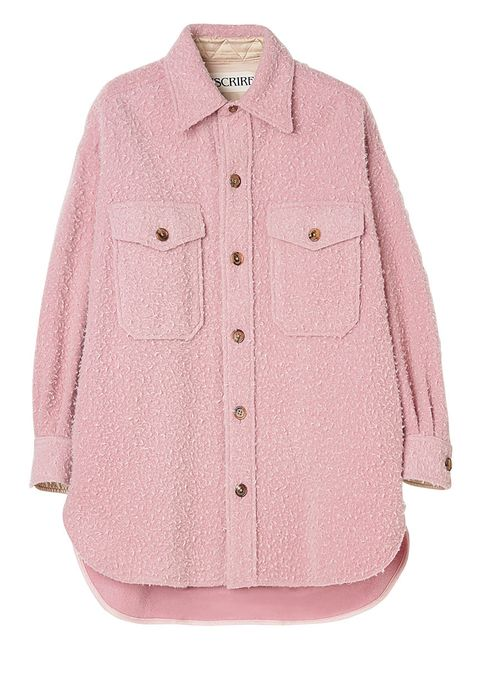 Clothing, Product, Sleeve, Collar, Textile, Coat, Outerwear, White, Pink, Pattern,