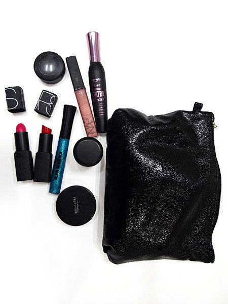 Bag, Tints and shades, Black, Cosmetics, Stationery, Material property, Writing implement, Makeup brushes, Collection, Lipstick,