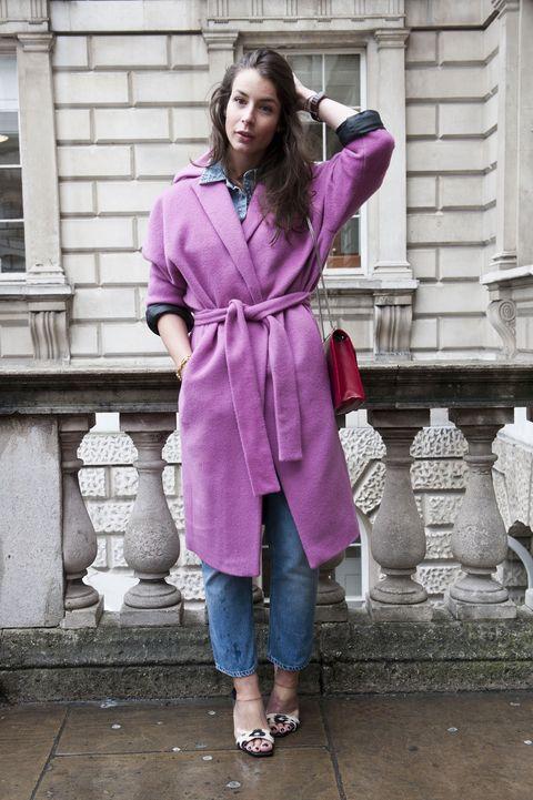 Clothing, Sleeve, Collar, Textile, Outerwear, Jeans, Denim, Purple, Style, Street fashion,