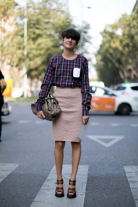 Clothing, Brown, Shoulder, Textile, Photograph, Bag, Human leg, Style, Fashion accessory, Street fashion,