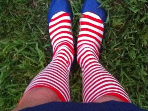 Green, Human leg, Sock, Joint, Red, White, Carmine, Electric blue, Close-up, Foot,