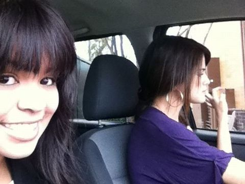 Hairstyle, Car seat, Black hair, Head restraint, Bangs, Beauty, Comfort, Vehicle door, Car seat cover, Selfie,