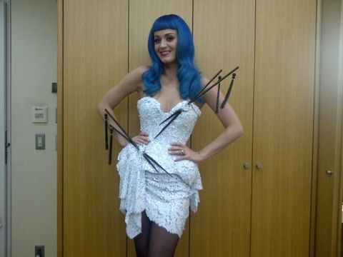 Shoulder, Dress, Joint, Waist, One-piece garment, Costume accessory, Costume, Day dress, Hair accessory, Electric blue,