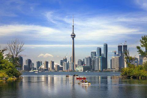 Skyline, City, Cityscape, Metropolitan area, Urban area, Sky, Skyscraper, Daytime, River, Water,