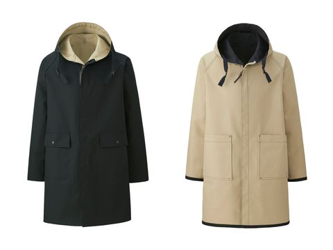 Clothing, Outerwear, Hood, Jacket, Coat, Sleeve, Overcoat, Parka, Raincoat, Beige,