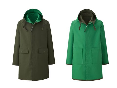 Outerwear, Clothing, Green, Hood, Jacket, Sleeve, Raincoat, Coat, Overcoat,