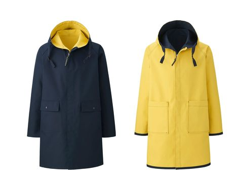 Clothing, Outerwear, Hood, Yellow, Raincoat, Jacket, Sleeve, Coat, Overcoat, Uniform,