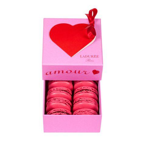 Macaroon, Pink, Magenta, Sweetness, Peach, Cuisine, Dessert, Heart, Finger food, Confectionery,