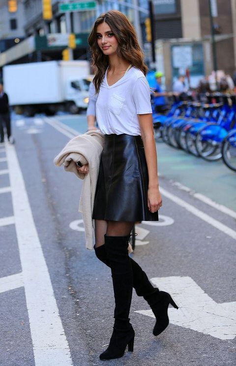 Clothing, Road, Textile, Outerwear, Street, Style, Street fashion, Knee, Bag, Fashion,