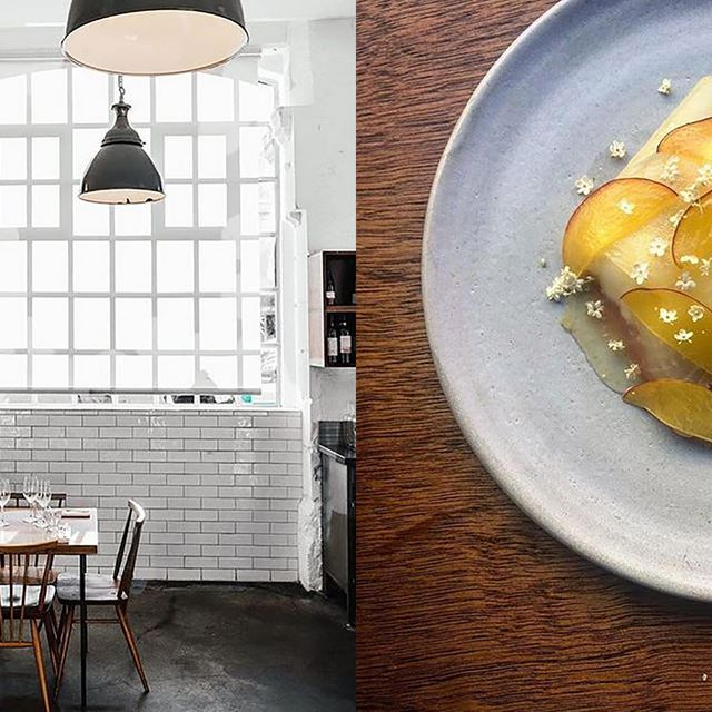 Yellow, Food, Room, Breakfast, Table, Architecture, Brunch, Cuisine, Dish, Interior design,