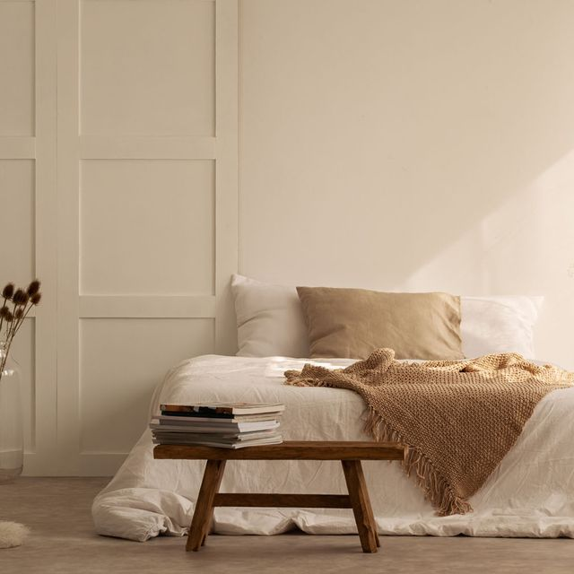 Room, Wood, Interior design, Floor, Textile, Wall, Flooring, Furniture, Lampshade, Linens,