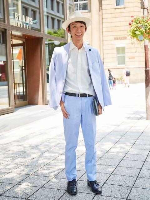 Clothing, Dress shirt, Hat, Collar, Sleeve, Trousers, Shirt, Standing, Denim, Style,