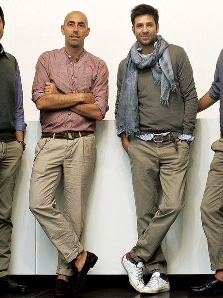 Clothing, Footwear, Brown, Sleeve, Collar, Trousers, Dress shirt, Shoe, Shoulder, Shirt,