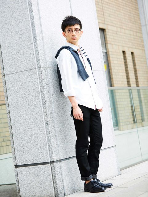 Clothing, Collar, Dress shirt, Sleeve, Trousers, Shirt, Outerwear, Standing, Style, Street fashion,