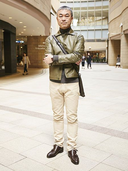 Sleeve, Trousers, Collar, Standing, Shoe, Dress shirt, Outerwear, Khaki, Style, Street fashion,