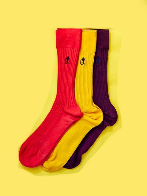 Yellow, Sock, Footwear, Shoe, Fashion accessory, Magenta,