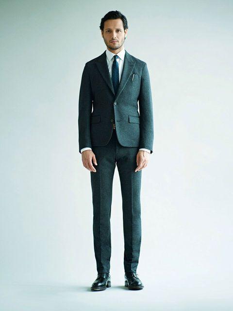 Clothing, Coat, Dress shirt, Collar, Human body, Sleeve, Trousers, Shoulder, Standing, Shirt,