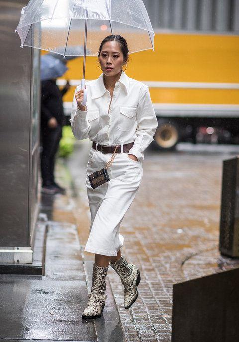 Street fashion, Umbrella, Yellow, Rain, Fashion, Workwear, Footwear, Photography, Fashion accessory,