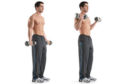 ダンベル,  上腕二頭筋 筋トレ  上腕二頭筋, トレーニング, Men's Health, エクササイズ, 運動,二の腕,  ダンベル カール,