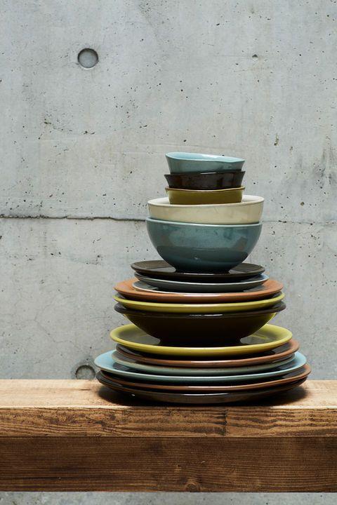 Green, Yellow, Blue, Ceramic, earthenware, Pottery, Still life photography, Dishware, Serveware, Shelf,