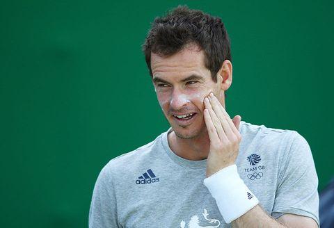 Face, Green, Head, Cheek, Chin, Tennis, Arm, Jaw, Mouth, Tennis player,