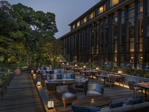 Furniture, Table, Outdoor furniture, Outdoor table, Mixed-use, Hardwood, Restaurant, Hotel, Patio, Deck,