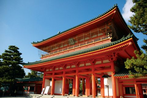 Chinese architecture, Nature, Architecture, Property, Japanese architecture, Red, Landmark, Place of worship, Facade, Pagoda,