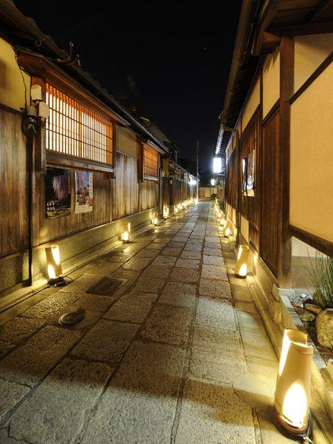 Lighting, Night, Flowerpot, Midnight, Alley, Cobblestone, Electricity, Houseplant, Light fixture, Security lighting,