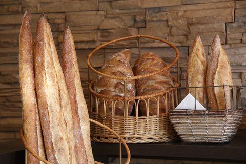 Bread, Basket, Storage basket, Wicker, Home accessories, Ingredient, Gluten, Staple food, Biga, Sourdough,