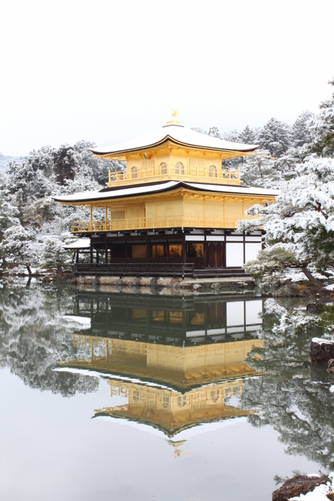 Japanese architecture, Chinese architecture, Pagoda, Architecture, Reflection, Temple, Water, Winter, Tree, Place of worship,