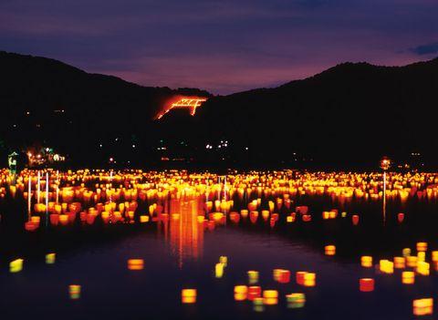 Night, Orange, Reflection, Amber, Heat, Hill, Geological phenomenon, Evening, Mountain range, Dusk,