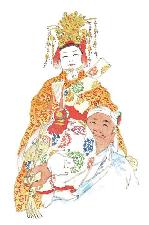 Costume design, Headgear, Art, Costume accessory, Tradition, Costume, Headpiece, Painting, Illustration, Drawing,