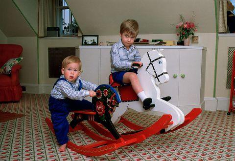 ウィリアム王子とヘンリー王子 1985年10月 2人そろって