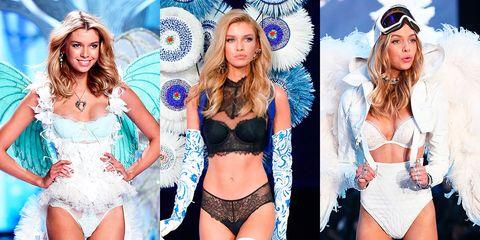 Fashion model, Clothing, Fashion, Fashion show, Model, Lingerie, Leg, Runway, Electric blue, Undergarment,