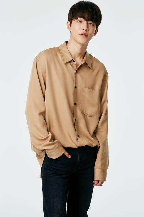 Clothing, Sleeve, Collar, Shirt, Beige, Dress shirt, Khaki, Neck, Brown, Top,