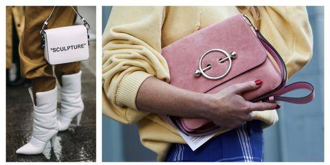 Yellow, Street fashion, Bag, Handbag, Pink, Fashion, Leather, Beige, Fashion accessory, Hand,