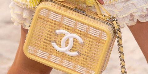 Yellow, Bag, Handbag, Fashion accessory, Fashion, Coin purse, Material property, Font, Hand, Finger,