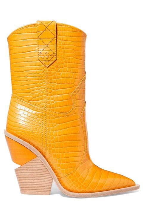 Footwear, Yellow, Boot, Shoe, Orange, Cowboy boot, High heels, Durango boot,