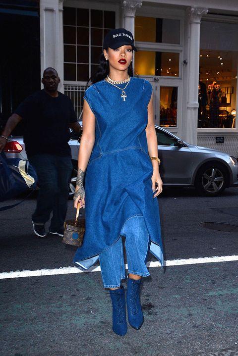 Cobalt blue, Clothing, Street fashion, Electric blue, Fashion, Blue, Dress, Footwear, Shoulder, Eyewear,