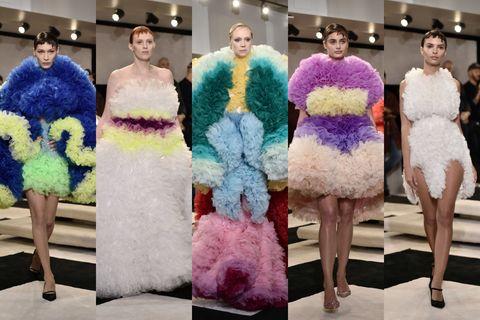 Purple, Fashion, Dress, Haute couture, Fur, Event, Fashion design, Shoulder, Textile, Cocktail dress,