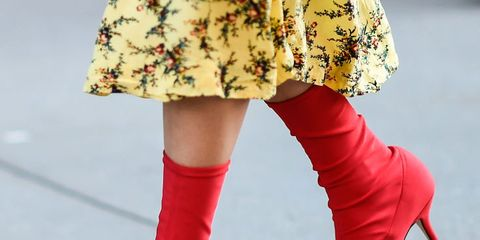 Red, Footwear, Leg, Joint, Ankle, Fashion, Street fashion, Knee-high boot, Boot, High heels,
