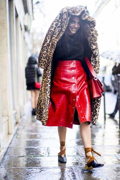 Clothing, Street fashion, Fashion, Red, Fashion model, Footwear, Outerwear, Headgear, Shoe, Fashion design,