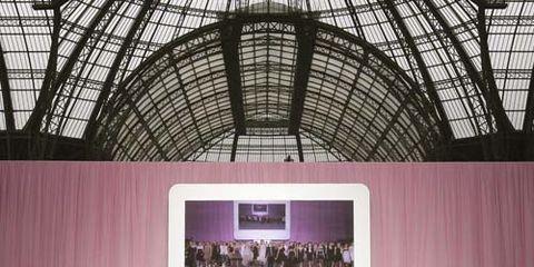 Fashion, Crowd, Event, Pink, Building, Auditorium, Technology, Design, Architecture, Stage,