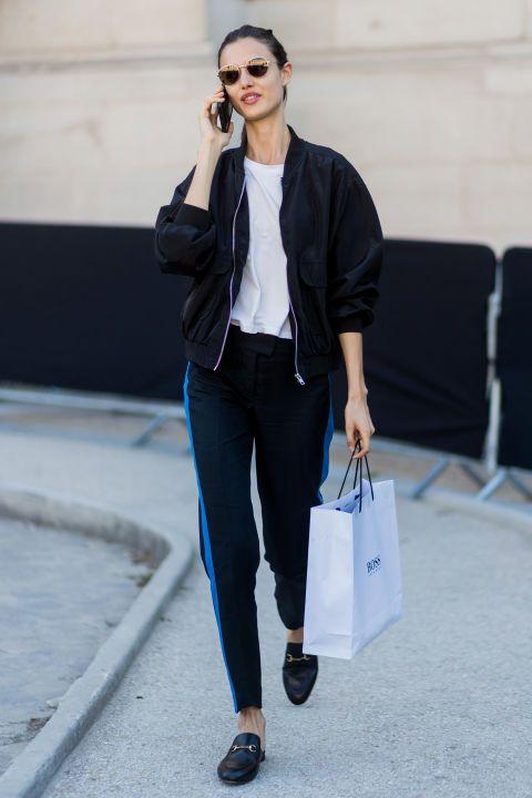 Clothing, White, Street fashion, Blazer, Fashion, Jeans, Outerwear, Jacket, Footwear, Eyewear,
