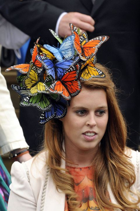 Clothing, Butterfly, Fashion, Headpiece, Monarch butterfly, Headgear, Fashion accessory, Hat, Hair accessory, Costume,