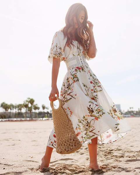 White, Clothing, Dress, Day dress, Fashion, Summer, Shoulder, Waist, Footwear, Street fashion,
