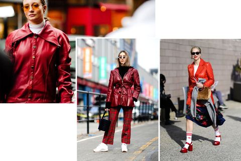 Red, Street fashion, Clothing, Fashion, Footwear, Textile, Outerwear, Photography, Suit, Jacket,