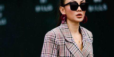 Clothing, Eyewear, Street fashion, Plaid, Fashion model, Outerwear, Blazer, Fashion, Pattern, Sunglasses,