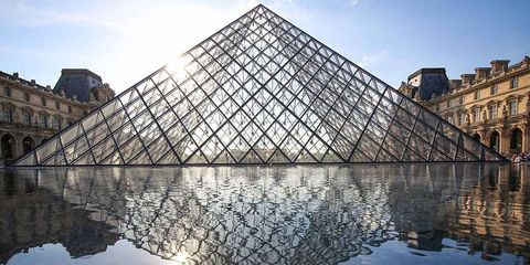 Reflection, Pyramid, Water, Reflecting pool, Sky, Architecture, Landmark, Symmetry, Waterway, Cloud,