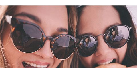 Eyewear, Sunglasses, Glasses, Facial expression, Cool, Vision care, Beauty, Friendship, Nose, Finger,